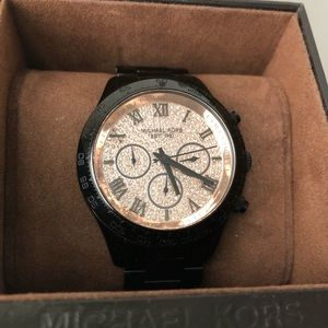 MICHAEL KORS Black & Rose Gold Layton Watch